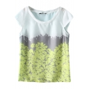 Color Block Floral Print Round Neck Top with Cap Sleeve