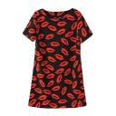 Short Sleeve Red Lips Print Round Neck Dress