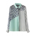 Color Block Floral Polka Dot Stripe Print Lapel Long Sleeve Blouse