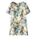 Short Sleeve Colorful Plants Print Round Neck Dress