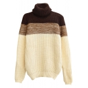 Thicken Roll Neck Tri Color Block Long Sleeve Sweater