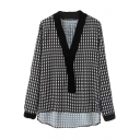 Color Block Houndstooth Print V-Neck High Low Hem Blouse