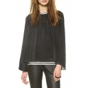 Black Pleated Stripe Trim Wide Sleeve Chiffon Blouse