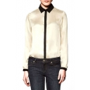 Point Collar Long Sleeve Loose Shirt with Contrast Trim