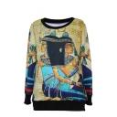 Egyptian Character Print Round Neck Long Sleeve Sweatshirt