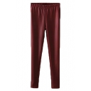 Plain Elastic Waist PU Thicken Full Length Pants