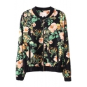 Morning Glory Print Stand-Up Collar Zippered Jacket