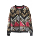 Geometric Weave Print Stand-Up Collar Zippered Jacket