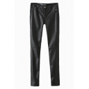 Plain Fitted Zipper Fly PU Pants with Extra Wool