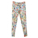 Vintage Colorful Flower Print Ankle Length Pencil Pants