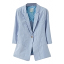 Light Blue Fitted Lapel Collar Single Button 3/4 Sleeve Blazer with Golden Buttons
