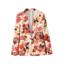 Lapel Vintage Red Floral Print Blazer with Single Button