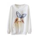 Round Neck Cartoon Rabbit with Lace Headwear Print Long Sleeve Sweatshirt