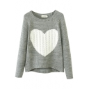 Heart Patter Raglan Sleeve High Low Hem Sweater