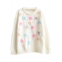 Sweet Colorful Hand-Made Embroidery Round Neck Sweater