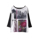 Round Neck Scenery Figure and Flower Print Top