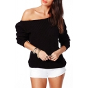 Plain Laid Back Long Sleeve One Shoulder Elastic Hem Sweater
