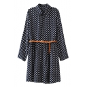 Lapel Polka Dot Pattern Column Dress with Belt