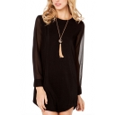 Plain Round Neck Sheer Long Sleeve Tunic Blouse
