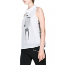 Abstract Girl Print Sleeveless Top with Plaid Inserted Back