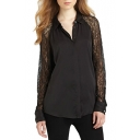 Lace Panel Sleeve Black Chiffon Shirt