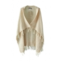 Plain Tassels Knitted Lapel Collar Cape