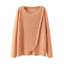 Sequined Round Neck Long Sleeve Sweater with Asymmetrical Hem