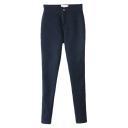 Plain Stretch Denim Fleece Dark Wash Pencil Jeans