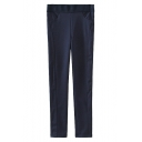 Contrast Trim Side Seam Skinny Pants with Argyle Knitted Waistband