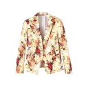 Vintage Yellow Floral Print Notched Lapel Blazer with Single Button