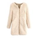 Long Sleeve Plain Lamb Hair Coat with Zipper Fly