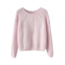 Plain Beaded Round Neck Raglan Sleeve Cropped Mohair Sweater