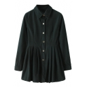 Point Collar Single-Breasted Long Sleeve Corduroy Shirt Dress