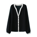 Mono Contrast Trim Button Fly V-Neck Chiffon Coat