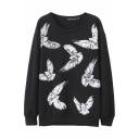 Black Flying Bird Print Round Neck Long Sleeve Sweatshirt