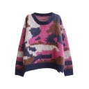 Camouflage Jacquard Pattern Round Neck Long Sleeve Mohair Sweater
