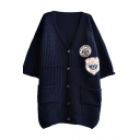 1/2 Sleeve Symbol Applique Chunky Knit V-neck Midi Cardigan