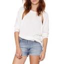 White Plain Cutout Detail Round Neck Batwing Sleeve Sweater