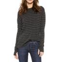 Stripe Jacquard Tulip-Back Round Neck Long Sleeve Sweater