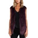 Grape V-neck Fluffy Faux Fur Vest