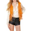 Vintage Orange PU Cropped Vest with Fringe Hem