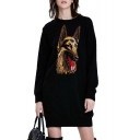 Wolf Head Print Knitted Column Dress