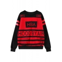 Hood By Air Print Trendy Round Neck Long Sleeve Sweatshirt