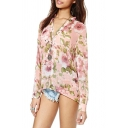 Pink Rose Print V-Neck Long Sleeve Chiffon Blouse