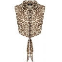 Leopard Print Point Collar Sleeveless Crop Shirt with Knotted Front
