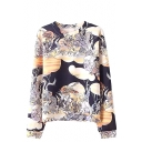 Abstract Flying Bird Round Neck Long Sleeve Sweatshirt