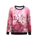 Floral and Letter Print Round Neck Long Sleeve Sweatshirt
