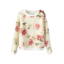 Rose Print and Organza Cover Long Sleeve Knitted Sweater with Round Neckline