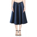 High Waist Plain Denim Full Skirt with Double Button Front