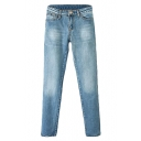 Blue Light Wash Zipper Fly Pockets Fitted Skinny Jeans